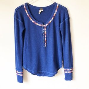 Free People Cobalt Blue Long Sleeve Thermal